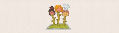 Three drawn figures grow like flowers from a bed of grass surrounded by a cement berm. Each is a smiling head atop an individual flower stem.