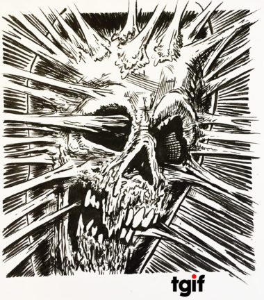 Pen and ink illustration of a decaying skull in the style of a comic book. The skull seems to be exploding or made of sticky goo.